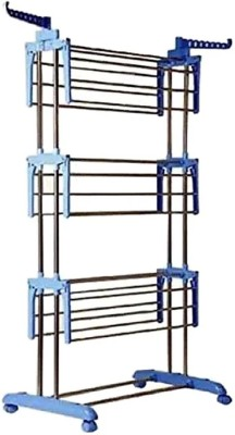 Best 4U Premium Quality 3 layer Clothes Rack Hanger Stainless Steel Floor Cloth Dryer Stand(Blue)