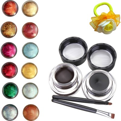 Vozwa Face and Eye Shimmer Powder, Glitter Powder, Music Flower Long Wear Gel Eyeliner Smudge Proof & Waterproof (Black And Brown ) With 2 Expert Eyeliner Brushes 6 g and Band (pack of 14)(Set of 14)  available at flipkart for Rs.249