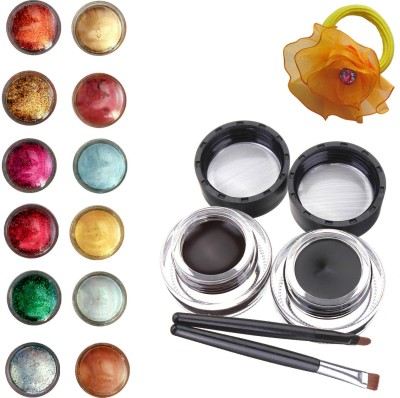Vozwa Face and Eye Shimmer Powder, Glitter Powder, Music Flower Long Wear Gel Eyeliner Smudge Proof & Waterproof (Black And Brown ) With 2 Expert Eyeliner Brushes 6 g and Band (pack of 14)(Set of 14)  available at flipkart for Rs.299
