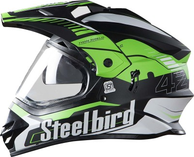 Steelbird Steel bird SB-42 Bang Black with Green L Motorbike Helmet(Black with Green)