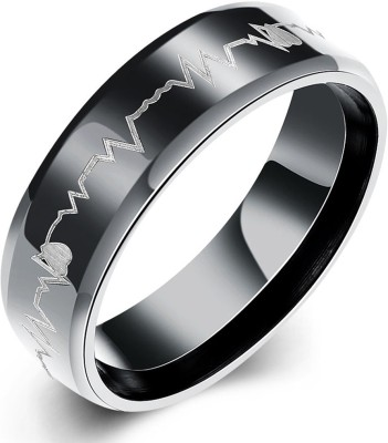 Yellow Chimes Heart Beat Love Message Stainless Steel Ring Stainless Steel Brass Plated Ring at flipkart