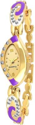 SPLAZOS Purple Crystal Studded Gold Dial Stainless Steel Women Analog Watch   For Girls SPLAZOS Wrist Watches
