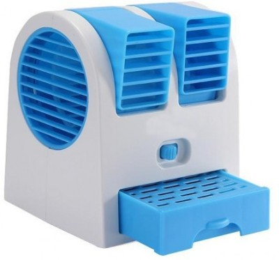 Blue Birds Mini USB Adjustable Angles Dual Air Outlet Fan Electric Air Fan Cooling Desktop Portable Bladeless Blower Mini Cooler Fan with USB Socket Room Desert/plastic mini fan /usb fan/mini cooler Tower Fan(Multicolor)