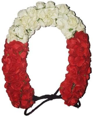 RAAYA Artificial 3D Hair Gajra Accessories For Women Pack Of 1 (Red/White) Bun, Hair Accessory Set(Red, White) Flipkart