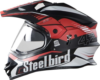 Steelbird Steel bird SB-42 Bang Mat Black with Red Motorbike Helmet(Black with Red)