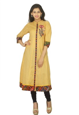Tanasi Casual Embroidered, Resham Embroidery, Solid Women Kurti(Beige)