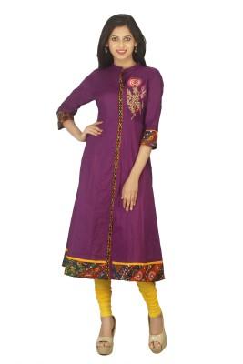Tanasi Casual Embroidered, Resham Embroidery, Solid Women Kurti(Purple)