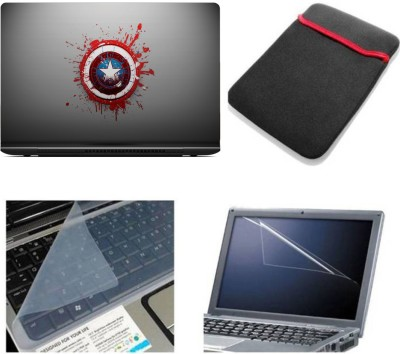 Gallery 83 ® captain america wallpaper laptop skin combo kit 4 in 1 with sleeve, key guard & screen protector Combo Set(multi)