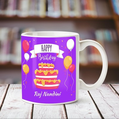 Huppme Happy Birthday Raj Nandini White Ceramic Mug Ceramic Mug 350