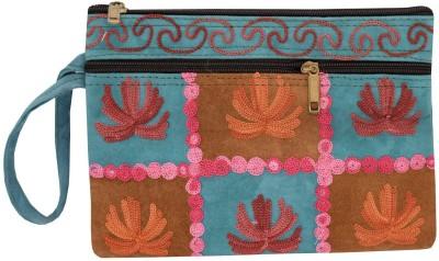 72a425110a7 Bagaholics Handmade Kashmiri Crewel Embroidery pure suede Leather Wristlet Pouch  Handbag Hand Clutch Multipurpose Pouch Purse
