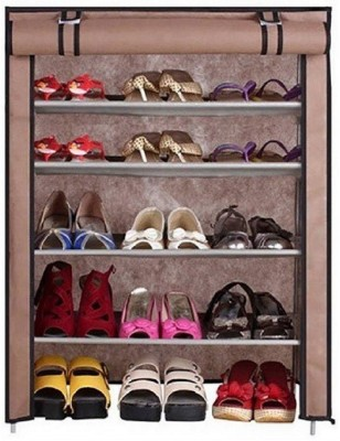 Uberlyfe 5 Shelf Shoe Rack With Cover Space Saving Shoe Storage Organizer Shoe Shelf / Shoe Cabinet - (CP-1596-TRDYRK-5SF-A) Steel Collapsible Shoe Stand(Multicolor, 5 Shelves)