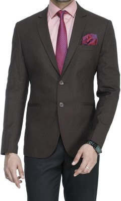 ManQ Solid Single Breasted Wedding, Formal Men's Blazer(Brown)