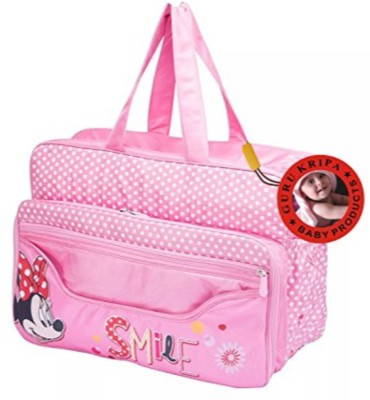 Guru Kripa Baby Products ™ Presents New Born Baby Multypurpose Mother Bag With Holder Diapper Changing Multi Comprtment For Baby Care And Maternity Handbag Diaper Nappy Mama Shoulder Bag Diaper Bag For Baby Multipurpose Waterproof Mother Bag Diaper Bag with Diaper Changing Mat (Pink) Baby Mother Bag