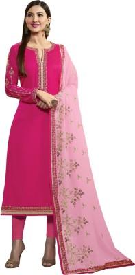 Saara Satin Blend Embroidered Salwar Suit Material(Semi Stitched) at flipkart