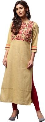 Jaipur Kurti Women Solid Straight Kurta(Beige)