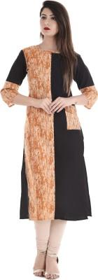 Saubhagyawati Fashions Women Striped Straight Kurta(Orange, Black)