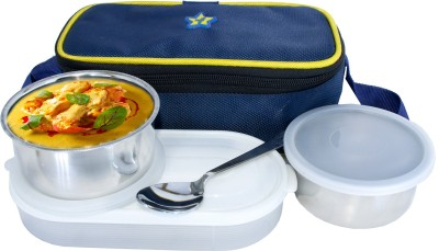 Flipkart SmartBuy Executive 2 Stainless Steel 1 Plastic with 1 Steel Spoon 3 Containers Lunch Box(900 ml)