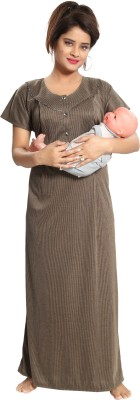 Fabme Women Maternity/Nursing Nighty(Brown)