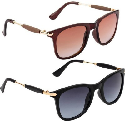 Gansta Wayfarer Sunglasses(Black, Brown)