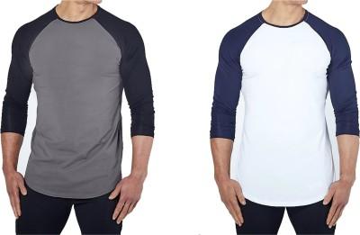 ZESTEEZ Solid Men's Round Neck Multicolor T-Shirt(Pack of 2)