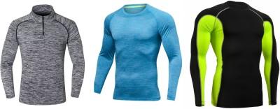 ZESTEEZ Solid Men's Round Neck Grey, Blue, Black T-Shirt(Pack of 3)