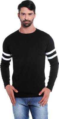 The Dry State Striped Men's Round Neck Black T-Shirt