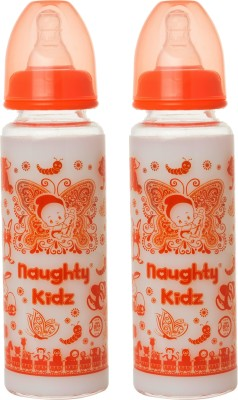 Naughty Kidz PREMIUM BOROSILICATE GLASS FEEDING BOTTLE WITH FOUR LSR NIPPLE -COMBO OF ORANGE-250ML+ORANGE-250ML - 250 ml(ORANGE-250ML, ORANGE-250ML)