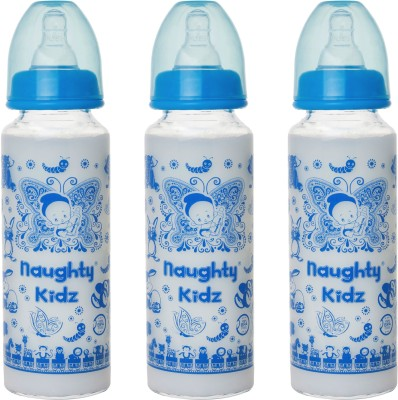 Naughty Kidz PREMIUM BOROSILICATE GLASS FEEDING BOTTLE WITH SIX(6) LSR NIPPLE -COMBO OF BLUE-250ML - 250 ml(BLUE-250ML, BLUE-250ML, BLUE-250ML)
