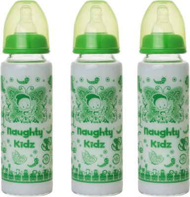Naughty Kidz PREMIUM BOROSILICATE GLASS FEEDING BOTTLE WITH SIX(6) LSR NIPPLE -COMBO OF GREEN-250ML+250ML+250ML - 250 ml(GREEN-250ML, GREEN-250ML, GREEN-250ML)