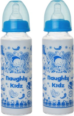 Naughty Kidz PREMIUM BOROSILICATE GLASS FEEDING BOTTLE WITH FOUR LSR NIPPLE -COMBO OF BLUE-250ML+BLUE-250ML - 250 ml(Blue)