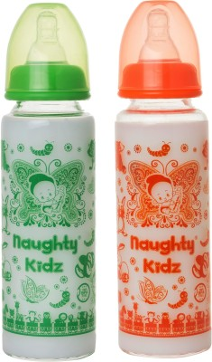 Naughty Kidz PREMIUM BOROSILICATE GLASS FEEDING BOTTLE WITH FOUR LSR NIPPLE -COMBO OF GREEN-250ML+ORANGE-250ML - 250 ml(GREEN-250ML, ORANGE-250ML)
