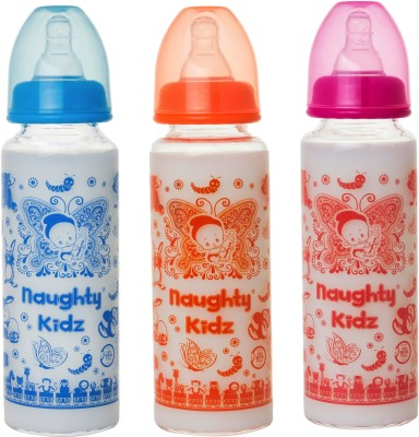 Naughty Kidz PREMIUM BOROSILICATE GLASS FEEDING BOTTLE WITH SIX(6) LSR NIPPLE -COMBO OF BLUE-250ML - 250 ml(BLUE-250ML, PINK-250ML, ORANGE-250ML)