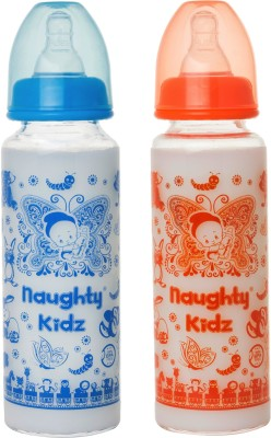 Naughty Kidz PREMIUM BOROSILICATE GLASS FEEDING BOTTLE WITH FOUR LSR NIPPLE -COMBO OF BLUE-250ML+ORANGE-250ML - 250 ml(BLUE-250ML, ORANGE-250ML)