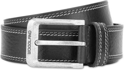 Woodland Men Casual Black Genuine Leather Belt