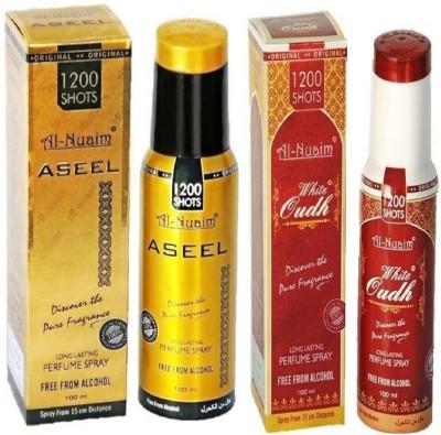 Al Nuaim White Oudh & Aseel Perfume Body Spray - For Men & Women (100 ml+100ml) Pack Of 2 PC Deodorant Spray - For Men & Women(200 ml, Pack of 2)