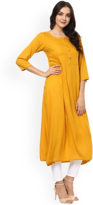 Atulya Women Solid Straight Kurta(Yellow)