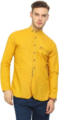 Showoff Men Self Design Straight Kurta(Yellow)