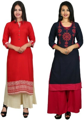 Vbuyz Festive & Party Embroidered Women Kurti(Pack of 2, Maroon, Multicolor)