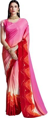 Ratnavati Printed Bollywood Crepe, Silk Saree(Pink)
