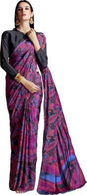 Ratnavati Printed Bollywood Crepe, Silk Saree(Pink, Maroon)