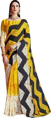 Ratnavati Printed Bollywood Crepe, Silk Saree(Multicolor)
