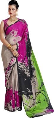 Ratnavati Printed Bollywood Crepe, Silk Saree(Yellow, Black)