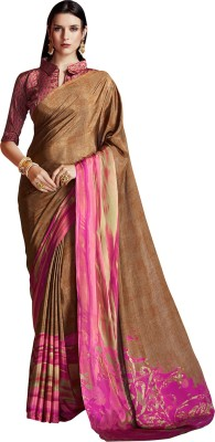 The Fashion Outlets Printed Bollywood Crepe, Silk Saree(Multicolor)