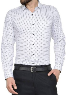 Sunshiny Men's Polka Print Casual Spread Shirt
