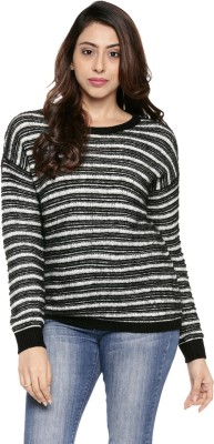 Modeve Self Design Round Neck Casual Women Red Sweater