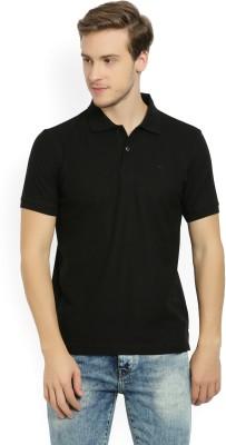 Peter England Solid Men Polo Neck Black T-Shirt