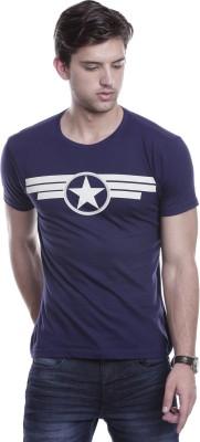 Hillisi Gare Printed Men's Round Neck Blue T-Shirt