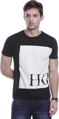 Hillisi Gare Printed Men's Round Neck Black T-Shirt