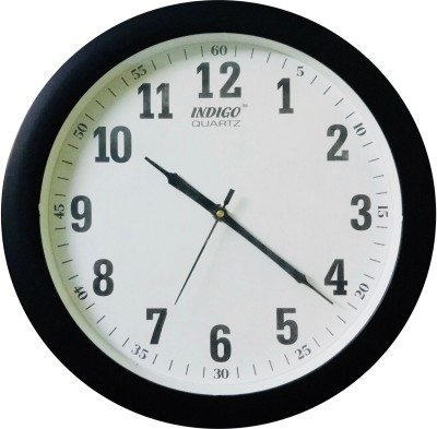 indigo Analog 30 cm Dia Wall Clock(Black, With Glass)  available at flipkart for Rs.469