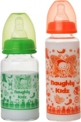 Naughty Kidz PREMIUM BOROSILICATE GLASS FEEDING BOTTLE WITH FOUR(4) LSR NIPPLE -COMBO OF -GREEN-125ML+ORANGE-250ML - 250 ml(GREEN-125ML, ORANGE-250ML)
